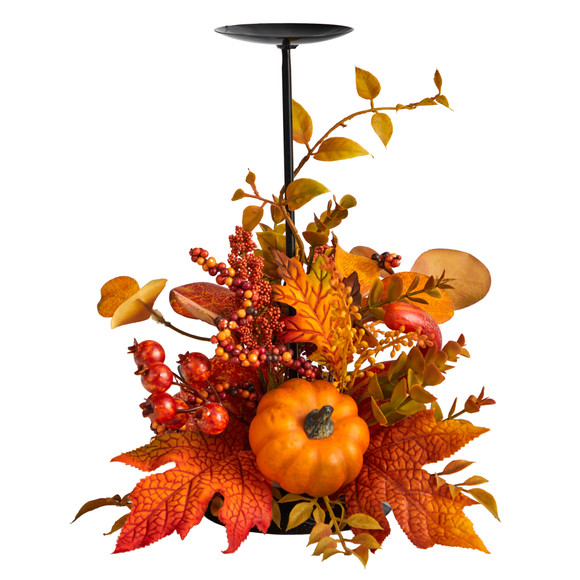 12 Fall Maple Leaves Berries and Pumpkin Autumn Harvest Candle Holder - SKU #A1783