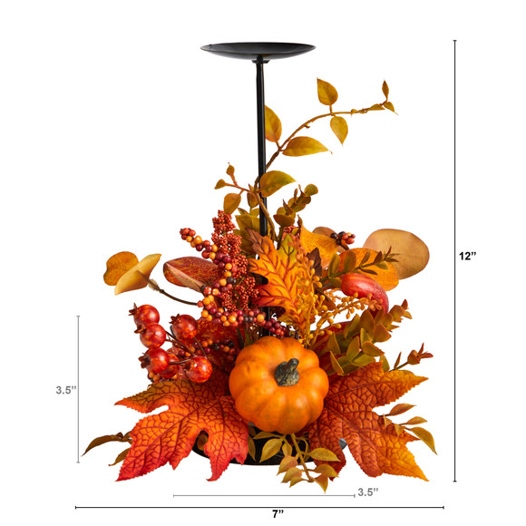 12 Fall Maple Leaves Berries and Pumpkin Autumn Harvest Candle Holder - SKU #A1783 - 1