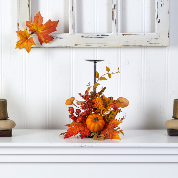 12 Fall Maple Leaves Berries and Pumpkin Autumn Harvest Candle Holder - SKU #A1783 - 2