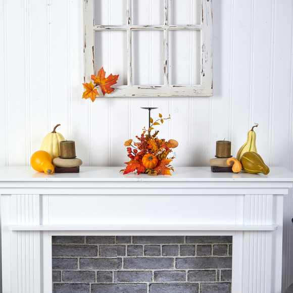 12 Fall Maple Leaves Berries and Pumpkin Autumn Harvest Candle Holder - SKU #A1783 - 3