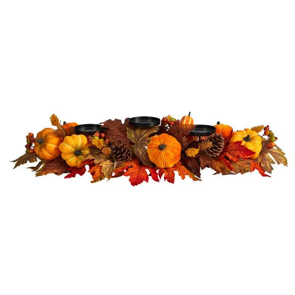 36 Autumn Maple Leaves Pumpkin and Berries Fall Harvest Candelabrum Arrangement - SKU #A1784