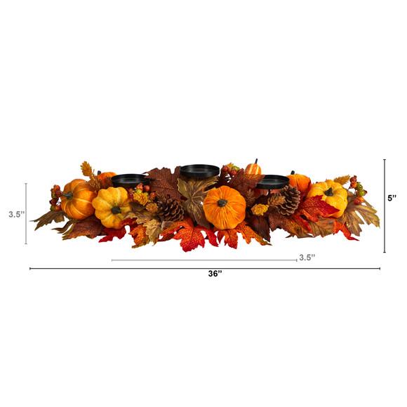 36 Autumn Maple Leaves Pumpkin and Berries Fall Harvest Candelabrum Arrangement - SKU #A1784 - 1