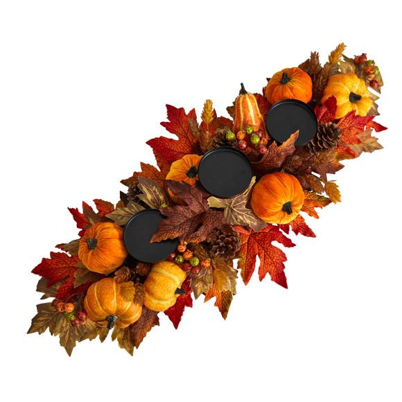 36 Autumn Maple Leaves Pumpkin and Berries Fall Harvest Candelabrum Arrangement - SKU #A1784 - 2