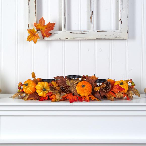 36 Autumn Maple Leaves Pumpkin and Berries Fall Harvest Candelabrum Arrangement - SKU #A1784 - 3