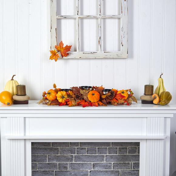 36 Autumn Maple Leaves Pumpkin and Berries Fall Harvest Candelabrum Arrangement - SKU #A1784 - 4