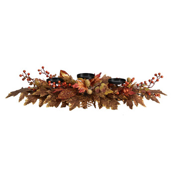 36 Autumn Maple Leaves and Berries Fall Harvest Candelabrum Arrangement - SKU #A1785
