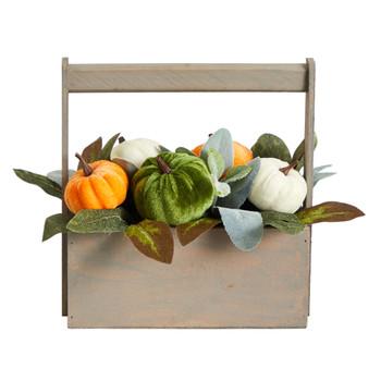 10 Fall Pumpkin Artificial Autumn Arrangement in Wood Basket - SKU #A1786