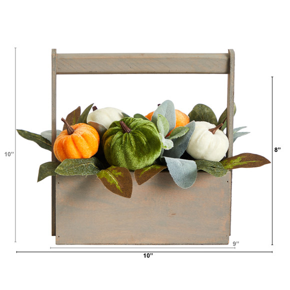 10 Fall Pumpkin Artificial Autumn Arrangement in Wood Basket - SKU #A1786 - 1