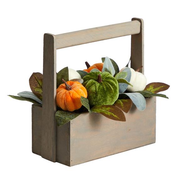 10 Fall Pumpkin Artificial Autumn Arrangement in Wood Basket - SKU #A1786 - 2