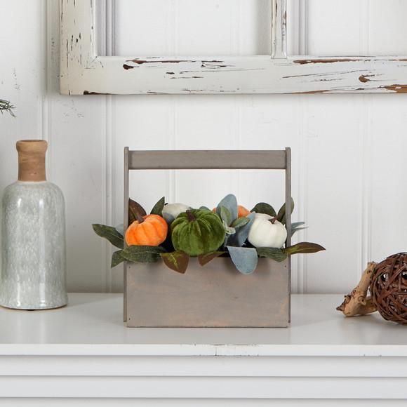 10 Fall Pumpkin Artificial Autumn Arrangement in Wood Basket - SKU #A1786 - 3