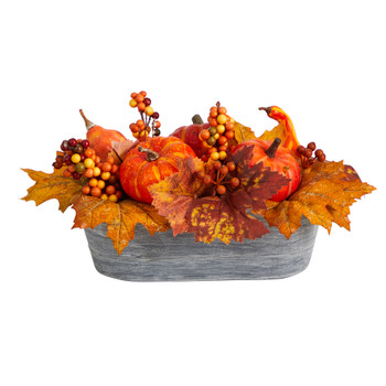 12 Fall Pumpkin and Berries Autumn Harvest Artificial Arrangement in Washed Vase - SKU #A1788