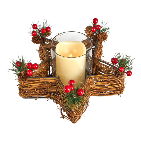 Holiday Star Twig Candle Holder with LED Candle Table Christmas Arrangement - SKU #A1837