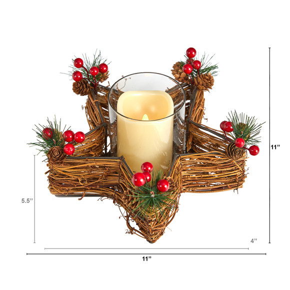 Holiday Star Twig Candle Holder with LED Candle Table Christmas Arrangement - SKU #A1837 - 1