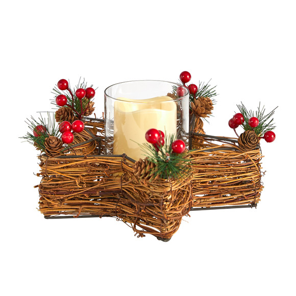 Holiday Star Twig Candle Holder with LED Candle Table Christmas Arrangement - SKU #A1837 - 2