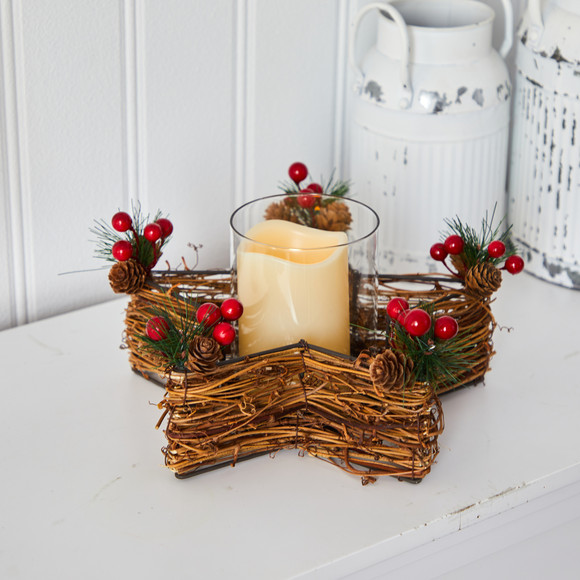 Holiday Star Twig Candle Holder with LED Candle Table Christmas Arrangement - SKU #A1837 - 3
