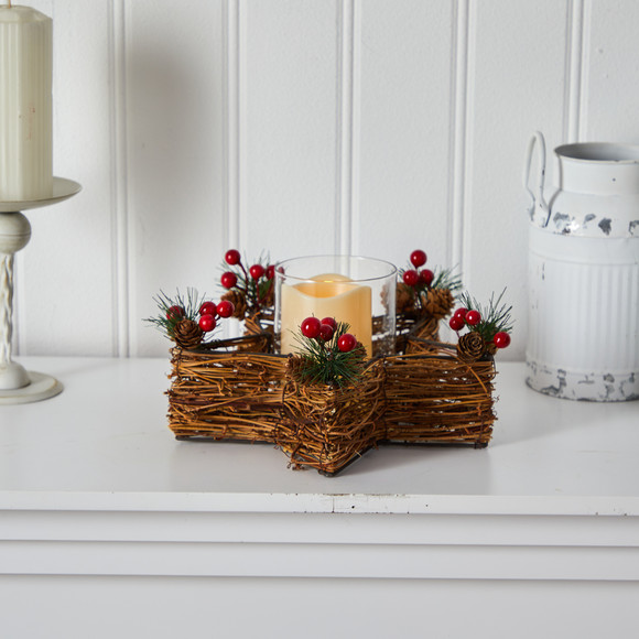 Holiday Star Twig Candle Holder with LED Candle Table Christmas Arrangement - SKU #A1837 - 4
