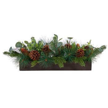 30 Evergreen Pine and Pine Cone Artificial Christmas Centerpiece Arrangement - SKU #A1838
