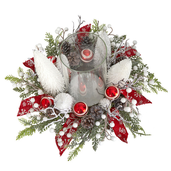 15 Holiday Lighted Forest Candle Holder Table Christmas Artificial Arrangement - SKU #A1839