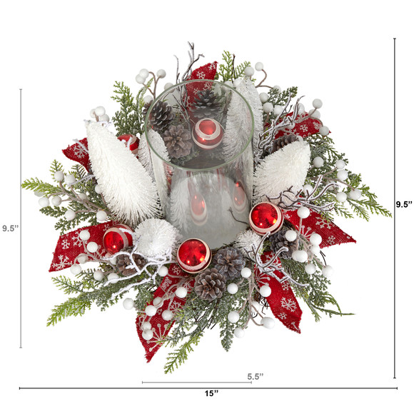 15 Holiday Lighted Forest Candle Holder Table Christmas Artificial Arrangement - SKU #A1839 - 1