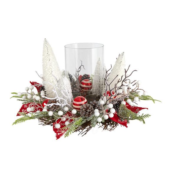 15 Holiday Lighted Forest Candle Holder Table Christmas Artificial Arrangement - SKU #A1839 - 2