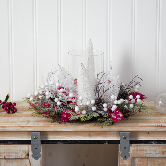 15 Holiday Lighted Forest Candle Holder Table Christmas Artificial Arrangement - SKU #A1839 - 3