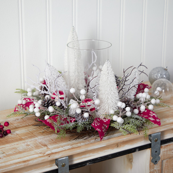 15 Holiday Lighted Forest Candle Holder Table Christmas Artificial Arrangement - SKU #A1839 - 4