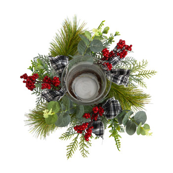 10 Evergreen Pine and Red Berries Artificial Christmas Candelabrum with Decorative Bows - SKU #A1840
