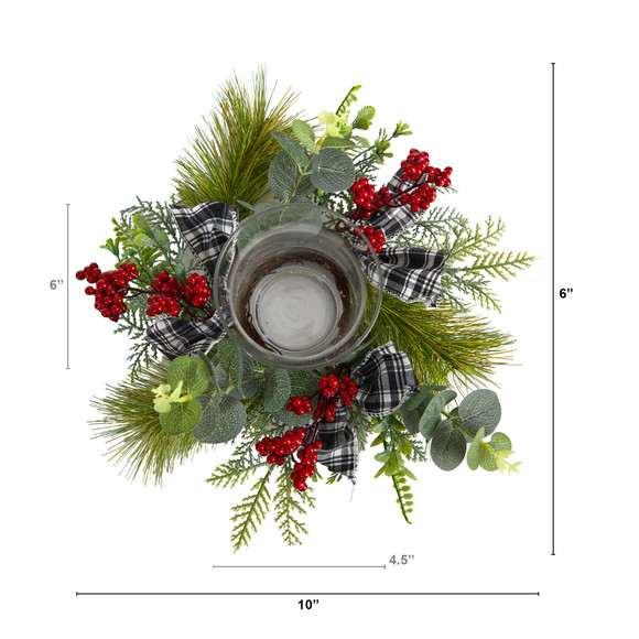 10 Evergreen Pine and Red Berries Artificial Christmas Candelabrum with Decorative Bows - SKU #A1840 - 1