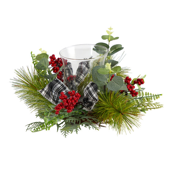 10 Evergreen Pine and Red Berries Artificial Christmas Candelabrum with Decorative Bows - SKU #A1840 - 2