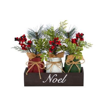 12 Holiday Winter Pine and Berries Three Piece Mason Jar Noel Table Christmas Arrangement Dcor - SKU #A1842
