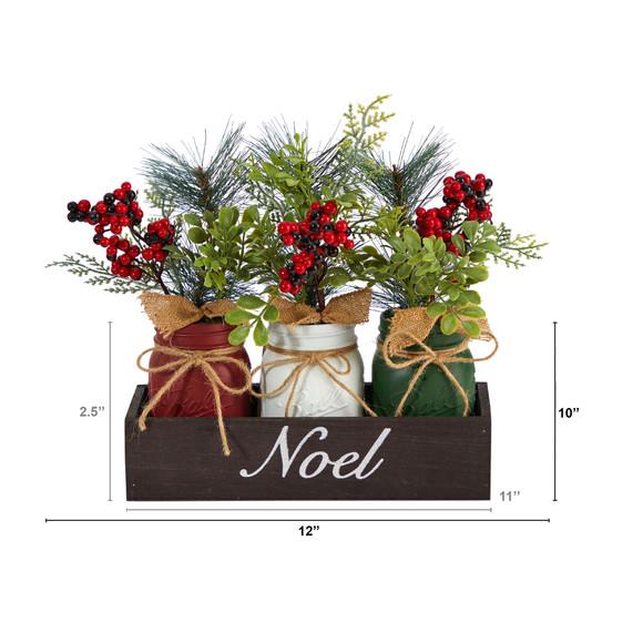 12 Holiday Winter Pine and Berries Three Piece Mason Jar Noel Table Christmas Arrangement Dcor - SKU #A1842 - 1