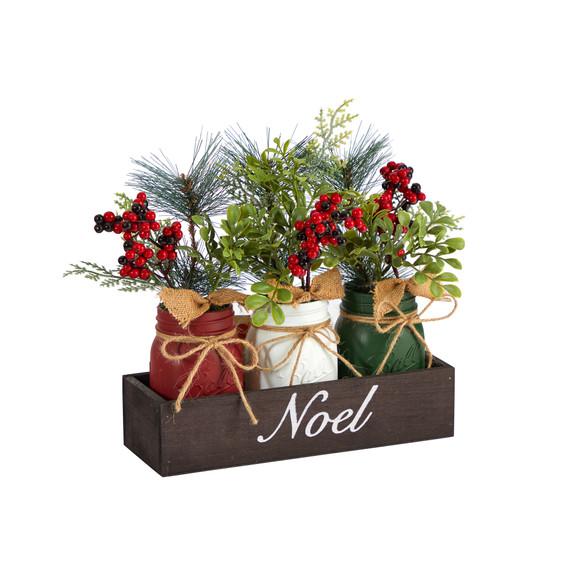 12 Holiday Winter Pine and Berries Three Piece Mason Jar Noel Table Christmas Arrangement Dcor - SKU #A1842 - 2