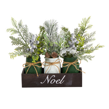 12 Holiday Winter Pine Berries and Pine Cone Three Piece Mason Jar Noel Table Arrangement Dcor - SKU #A1843