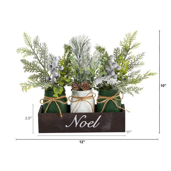 12 Holiday Winter Pine Berries and Pine Cone Three Piece Mason Jar Noel Table Arrangement Dcor - SKU #A1843 - 1