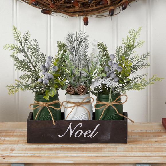 12 Holiday Winter Pine Berries and Pine Cone Three Piece Mason Jar Noel Table Arrangement Dcor - SKU #A1843 - 2