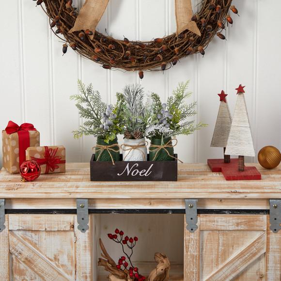 12 Holiday Winter Pine Berries and Pine Cone Three Piece Mason Jar Noel Table Arrangement Dcor - SKU #A1843 - 3
