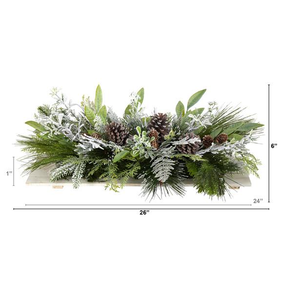26 Holiday Flocked Winter Christmas Arrangement Cutting Board Wall Dcor or Table Arrangement - SKU #A1844 - 1