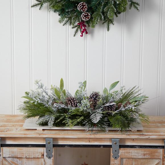 26 Holiday Flocked Winter Christmas Arrangement Cutting Board Wall Dcor or Table Arrangement - SKU #A1844 - 3