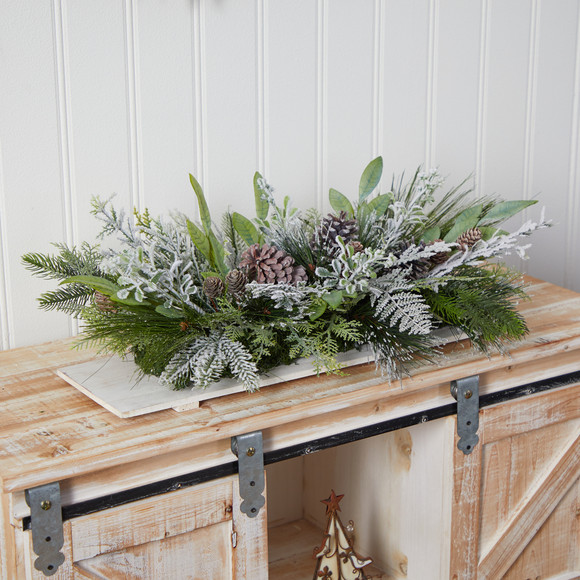 26 Holiday Flocked Winter Christmas Arrangement Cutting Board Wall Dcor or Table Arrangement - SKU #A1844 - 4