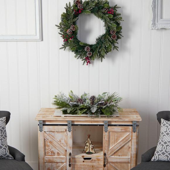 26 Holiday Flocked Winter Christmas Arrangement Cutting Board Wall Dcor or Table Arrangement - SKU #A1844 - 5
