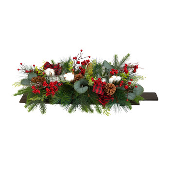 24 Holiday Berries Pinecones and Eucalyptus Cutting Board Wall Dcor or Table Arrangement - SKU #A1845