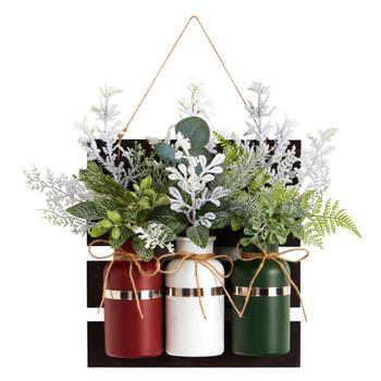 17 Holiday Assorted Christmas Pine Hanging Three Piece Mason Jar Arrangement Wall Art Dcor - SKU #A1846