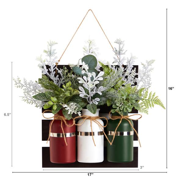 17 Holiday Assorted Christmas Pine Hanging Three Piece Mason Jar Arrangement Wall Art Dcor - SKU #A1846 - 1