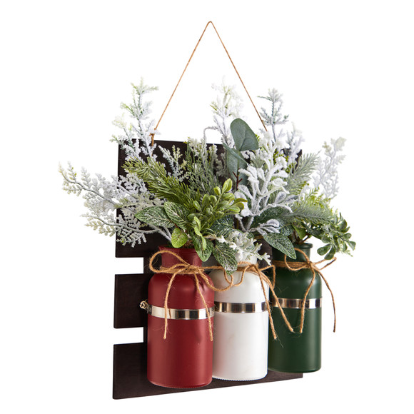 17 Holiday Assorted Christmas Pine Hanging Three Piece Mason Jar Arrangement Wall Art Dcor - SKU #A1846 - 2