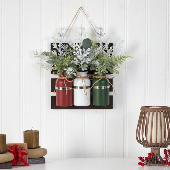 17 Holiday Assorted Christmas Pine Hanging Three Piece Mason Jar Arrangement Wall Art Dcor - SKU #A1846 - 3