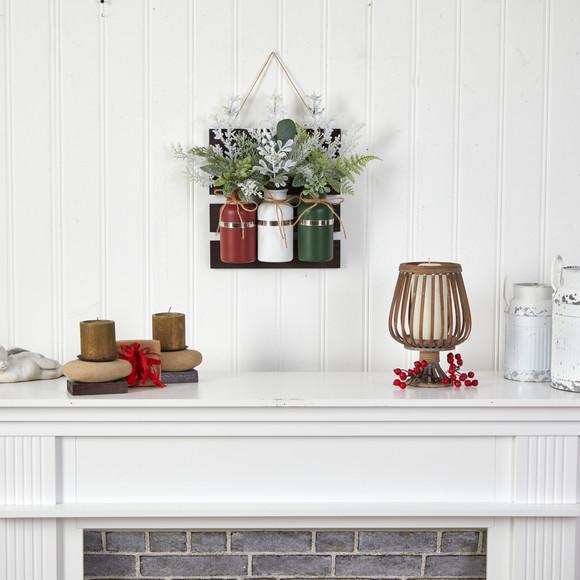 17 Holiday Assorted Christmas Pine Hanging Three Piece Mason Jar Arrangement Wall Art Dcor - SKU #A1846 - 4