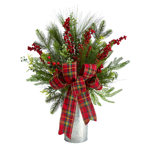 28 Holiday Winter Greenery Berries and Plaid Bow Artificial Christmas Arrangement Home Dcor - SKU #A1847