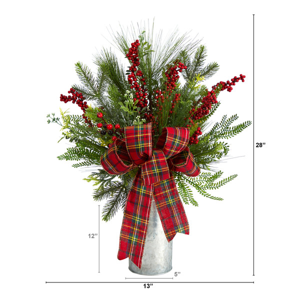 28 Holiday Winter Greenery Berries and Plaid Bow Artificial Christmas Arrangement Home Dcor - SKU #A1847 - 1