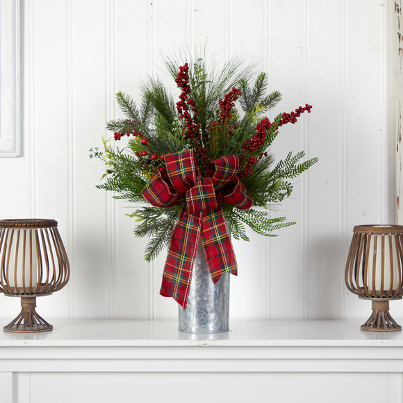 28 Holiday Winter Greenery Berries and Plaid Bow Artificial Christmas Arrangement Home Dcor - SKU #A1847 - 2