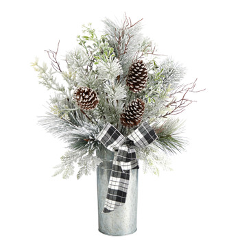 28 Frosted Greenery and Pinecone with Plaid Bow Artificial Christmas Arrangement in Decorative Tin - SKU #A1848